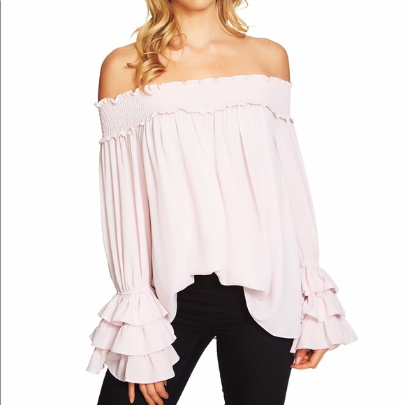 12b854cf2e076 CeCe Tops - CeCe Off Shoulder Top with Ruffle Sleeves